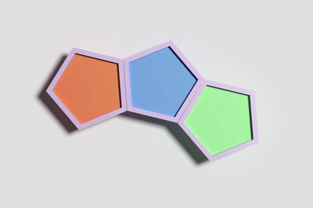 casting: 3d rendering of Three volume pentagons in a row casting shadow on white background. Stock Photo