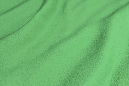 rippled: 3d rendering of a green rippled fabric.From above Stock Photo