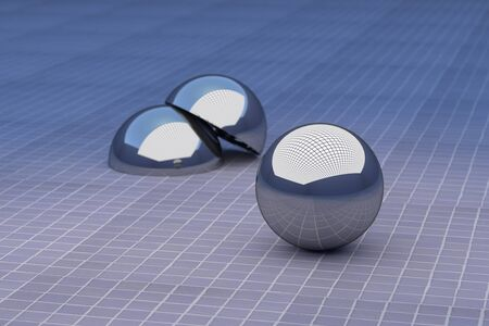 halved: 3d rendering of three-dimensional metal balls on glazed floor. One of them halved