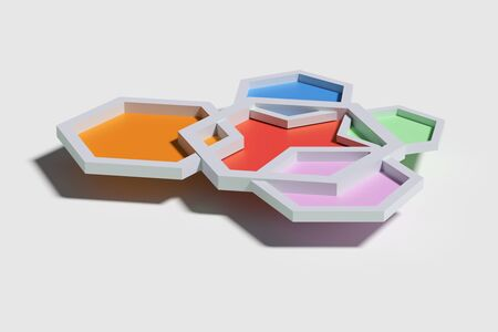 from above: 3d rendering of five colorful three-dimensional hexagons from above casting shadow   on white background. Stock Photo