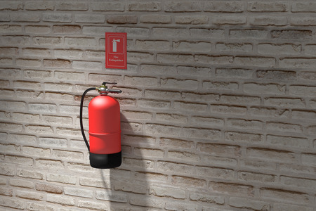fire brick: 3d rendering of a fire extinguisher hanging on brick wall.