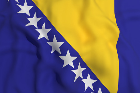 bosnia and herzegovina flag: 3d rendering of a bosnia herzegovina flag waving Stock Photo