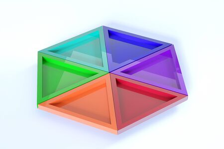 casting: 3d rendering of colorful triangles casting shadow on white background Stock Photo