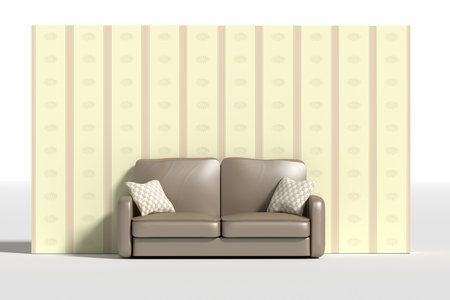 love seat: 3d rendering of al sofa with pillows against of wall decorated with wall-paper Stock Photo