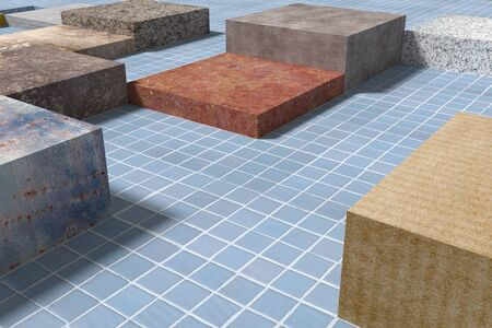 glazed: 3d rendering of a close-up of tiled glazed floor made of volume cubes of different colors. Stock Photo