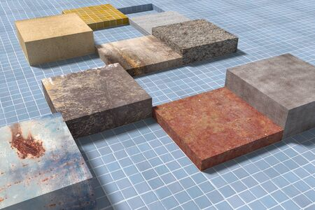 glazed: 3d rendering of cubes of different materials on glazed tiled floor. Stock Photo