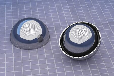 halved: 3d rendering of a halved metal ball with another ball inside. Glazed tile floor
