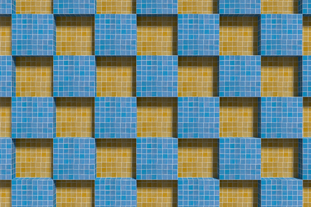 from above: 3d rendering of blue and yellow ceramic cubes from above. Stock Photo