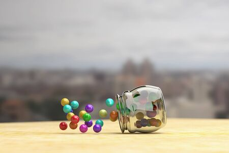 scattering: 3d rendering of colorful candies scattering out of glass jar. City on background.