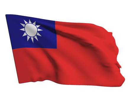 taiwanese: 3d rendering of a Taiwan flag on a white background