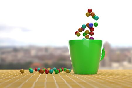 green it: 3d rendering of green mug with flying colorful balls in it and on yellow ceramic surface.