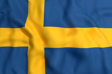 bandera suecia: 3d prestaci�n de una bandera ondeando Suecia