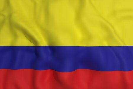 bandera de colombia: 3d prestaci�n de una bandera ondeando Colombia Foto de archivo