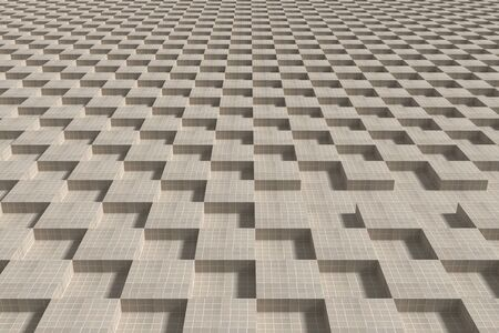 endless: 3d rendering of endless grey tiled cubes. Stock Photo