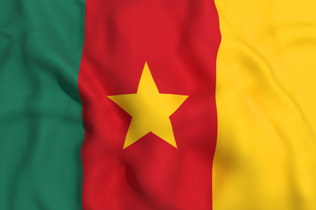 cameroon: 3d rendering of a Cameroon flag waving Stock Photo