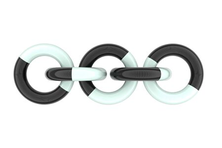linked: 3d rendering of al linked black and white plastic circles on white background