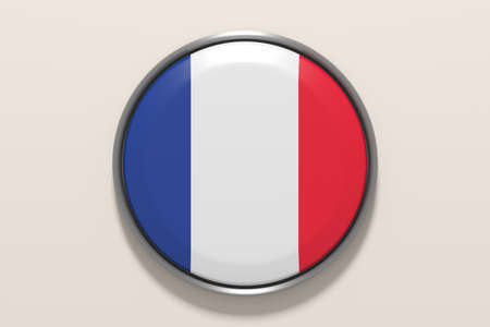 pf: 3d rendering pf french button on white background.