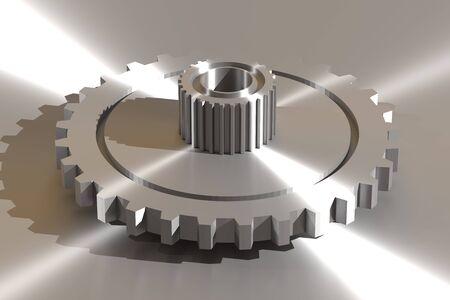 metallic: 3d rendering metallic gear wheels in close-up