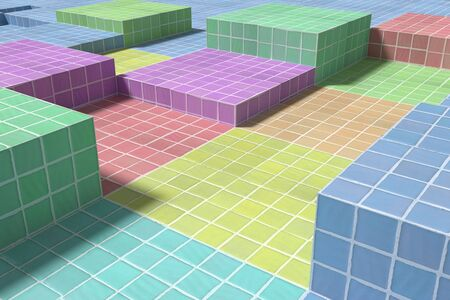 from above: 3d rendering of a close-up of tiled glazed floor made of volume cubes of different colors. From above