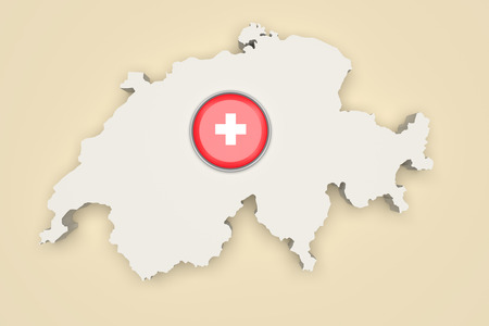 boundaries: 3d rendering of Switzerland boundaries and button with Switzerland flag on white background. Stock Photo