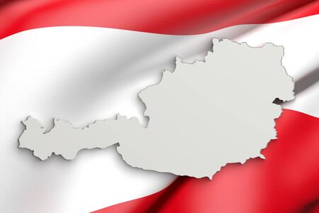 austria map: 3d rendering of Austria map and a flag on the background Stock Photo