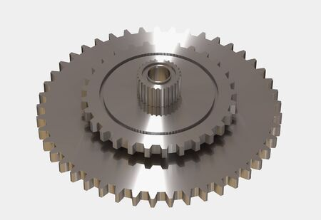 closeup: 3d rendering metallic gear wheels in close-up