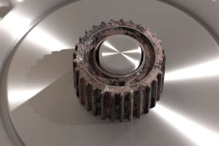 rotor: 3d rendering of isolated rusty cogwheels