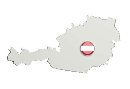 boundaries: 3d rendering of Austria boundaries and button with Austria flag on white background. Stock Photo