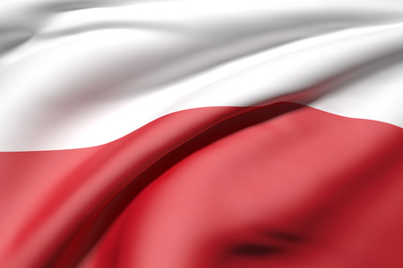 3d rendering of a close-up of volume red and white Polish flag waving in light