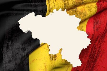 frontage: 3d rendering of Belgium map and dirty flag on background.