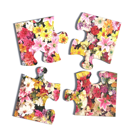 flowered: 3d rendering of four puzzle pieces with flower print on white background. Isolated.