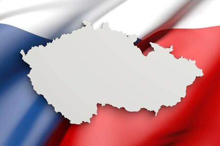 rep: 3d rendering of Czech Rep map and a flag on the background