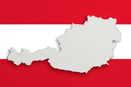 austria map: 3d rendering of Austria map and flag on background.