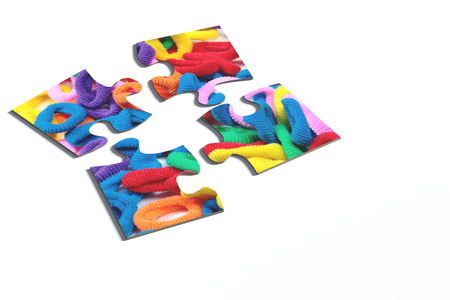 hairband: 3d rendering of an isolated puzzle pieces with hairband print on white background.
