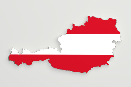 austria map: 3d rendering of Austria map and flag on white background. Stock Photo