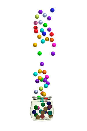 color balls: 3d rendering of small balls of different colors falling into glass jar. Isolated