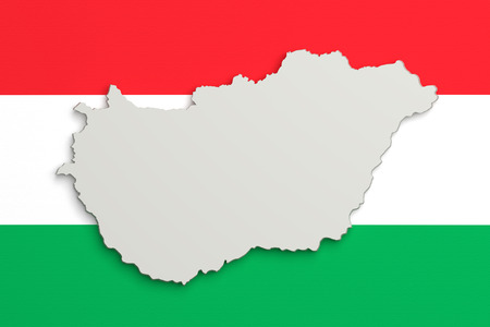 frontage: 3d rendering of Hungary map and flag on background.