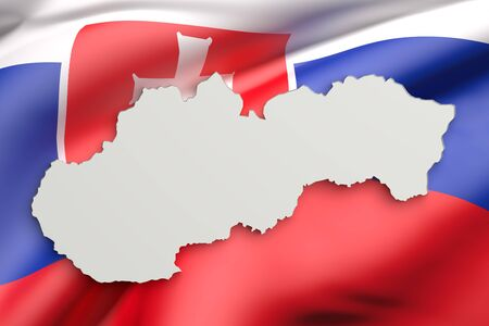 national geographic: 3d rendering of Slovakia map and flag on background. Stock Photo
