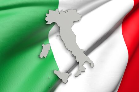 italy background: 3d rendering of Italy map and flag on background.