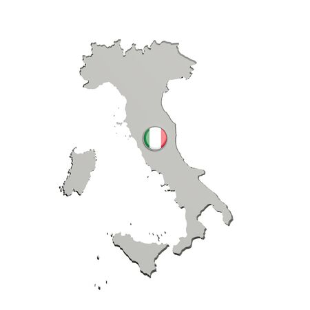 boundaries: 3d rendering of Italy boundaries and button with italian flag on white background.