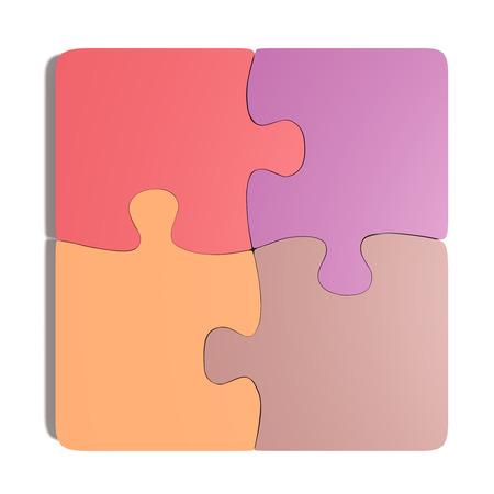 pastel colored: 3d rendering of close-up of pastel colored puzzle pieces on white background. Isolated