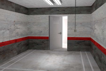 unfurnished: 3d rendering of an unfurnished empty grey room with open door and switched on lamp on ceiling