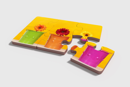 flowered: 3d rendering of close-up of six puzzle pieces with print of potted flowers on yellow background. Isolated