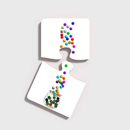 two dimensional shape: 3d rendering of two white pieces of puzzle on grey background with colorful balls scattered from glass jar. Isolated.