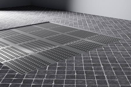 Representación 3d de un pasamanos de metal cuadrados de piso de cerámica
