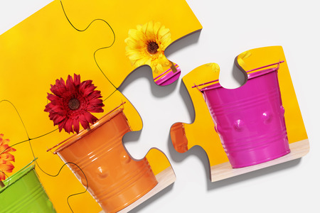 flowered: 3d rendering of close-up of  puzzle pieces with print of potted flowers on yellow background. Isolated