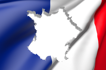 frontage: 3d rendering of France map and flag on background. Stock Photo