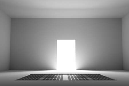 unfurnished: 3d rendering of view on illuminated doorway from unfurnished empty room with white walls and metal insert on floor Stock Photo