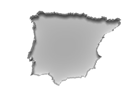 3d rendering of silhouette of white Iberian Peninsula map in white wall Stock Photo