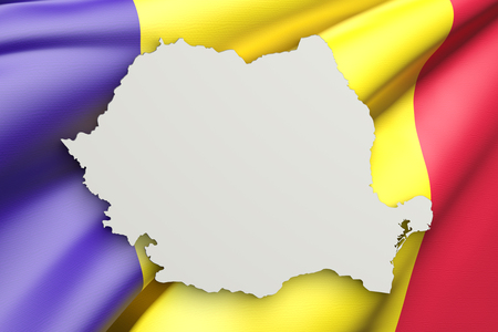 3d rendering of Romania map and flag on background.